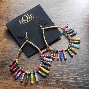 Noir Jewelry Gold Rainbow Beaded Drop Earrings